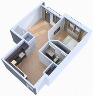 1 Bed / 1 Bath / 721 sq ft / Starting At: $1,343
